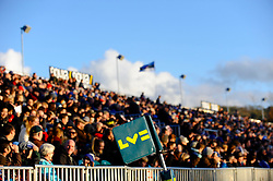 An LV= branded corner flag is seen against the crowd during the second half of the match - Photo mandatory by-line: Rogan Thomson/JMP - Tel: Mobile: 07966 386802 09/11/2012 - SPORT - RUGBY - The Recreation Ground - Bath. Bath v Newport Gwent Dragons  - LV= Cup