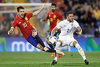 Spain's Cesc Fabregas (l) and England's Kyle Walker during international friendly match. November 13,2015.(ALTERPHOTOS/Acero)