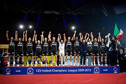 Players of Trentino celebrate after the final match of CEV Indesit Champions League FINAL FOUR tournament between Dinamo Moscow, RUS and Trentino BetClic, ITA on May 2, 2010, at Arena Atlas, Lodz, Poland. Trentino defeated Dinamo 3-0 and became Winner of the Champions League. (Photo by Vid Ponikvar / Sportida)
