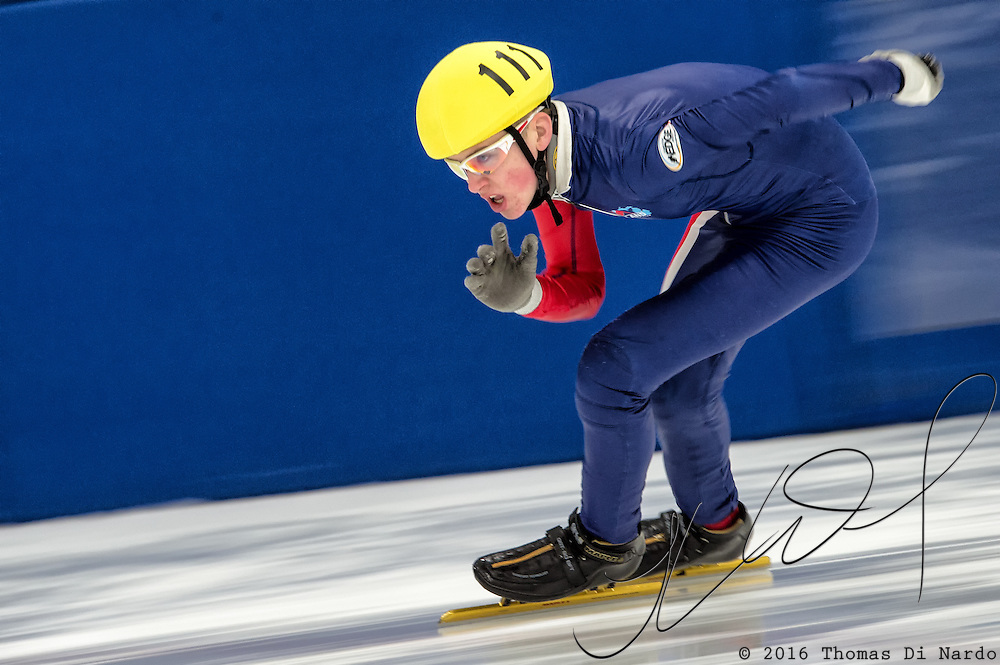 March 20, 2016 - Verona, WI - Adam Hancock, skater number 111 competes in US Speedskating Short Track Age Group Nationals and AmCup Final held at the Verona Ice Arena.