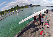 Munich, GERMANY,  CAN W8+  Boating and pushing away from the boating Dock. , FISA World Cup on the Munich Olympic Rowing Course,  Thursday   14/06/2012. [Mandatory Credit Peter Spurrier/ Intersport Images]