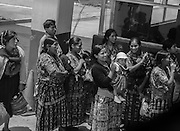 A crowd cheers the arrival of the medical team at the makeshift hospital in the Guatemalan highlands.