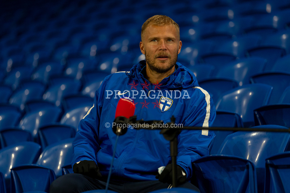 CARDIFF, WALES - Tuesday, November 17, 2020: Finland's Paulus Arajuuri pictured during a television interview before a training session at the Cardiff City Stadium ahead of the UEFA Nations League Group Stage League B Group 4 match between Wales and Finland. (Pic by David Rawcliffe/Propaganda)