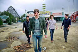 17 October 2013. Abandoned Six Flags, New Orleans, Louisiana. <br /> Terry McDermott and the Bonfires. <br /> L/R;  Eric Bolivar, Terry McDermott, Dave Rosser, Alex Smith and Richard Hyland.<br /> Photo; Charlie Varley