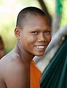 A young Buddhist monk in rural Cambodia