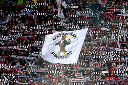 A general view of Eintracht Frankfurt fans in the stands as they wave banners and scarves during the UEFA Europa League Semi final, first leg match at The Frankfurt Stadion, Frankfurt.