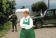 Forensic anthropologist Sue Black outside the massacre site at Krushe e Mahde/Mala Krusha. Black was in Kosovo as a member of the UK forensic team sent to investigate possible war crimes.