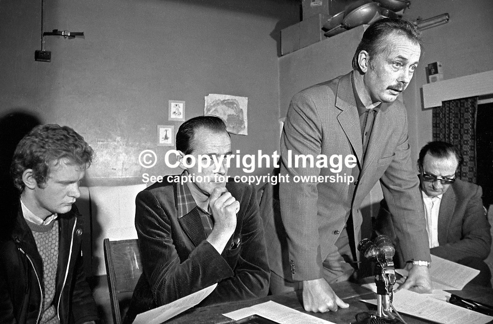 Sean MacStiofain, prominent member, speaking at Provisional IRA press conference, Londonderry, N Ireland, UK, 13 June 1972. Also in the photograph (from left) are Martin McGuinness, David O'Connell, aka Daithi O Conaill, and Seamus Twomey. 197206130393a.<br /> <br /> Copyright Image from Victor Patterson, Belfast, UK<br /> <br /> t: +44 28 9066 1296 (from Rep of Ireland 048 9066 1296)<br /> m: +44 7802 353836<br /> e: victorpattersonbelfast@gmail.com<br /> <br /> www.images4media.com<br /> <br /> Please see my full Terms and Conditions of Use at https://www.images4media.com/p/terms-conditions - it is IMPORTANT that you familiarise yourself with them.<br /> <br /> Images used online incur an additional cost. This cost should be agreed in writing in advance. Online images must be visibly watermarked i.e. © Victor Patterson or that of the named photographer within the body of the image. The original metadata must not be deleted from images used online.<br /> <br /> This image is only available for the use of the download recipient i.e. television station, newspaper, magazine, book publisher, etc, and must not be passed on to a third party. It is also downloaded on condition that each and every usage is notified within 7 days to victorpattersonbelfast@gmail.com.