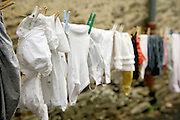lingerie and other wash hanging to dry