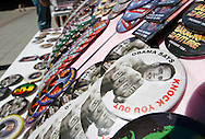 Campaign buttons are displayed for sale outside of the Denver Convention Center in Denver, Colorado on August 27, 2008. The 2008 Democratic National Convention runs through August 28 in Denver. (UPI)