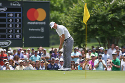 May 25, 2019 - Fort Worth, TX, U.S. - FORT WORTH, TX - MAY 25: Jordan Spieth putts on the 5th green during the third round of the Charles Schwab Challenge on May 25, 2019 at Colonial Country Club in Fort Worth, TX. (Photo by George Walker/Icon Sportswire) (Credit Image: © George Walker/Icon SMI via ZUMA Press)