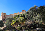 Walls of the Alcazaba fortress in city of Almeria, Spain