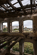View from inside an abandoned school building, called the Real School, in Shushi, Nagorno-Karabakh.<br /> <br /> (September 23, 2016)