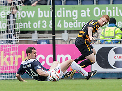 Falkirk's David McCracken tackles Alloa Athletic's Liam Caddis.<br /> Falkirk 3 v 1 Alloa Athletic, Scottish Championship game played today at The Falkirk Stadium.<br /> © Michael Schofield.