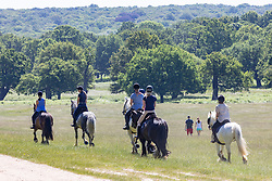 Licensed to London News Pictures. 16/06/2021. London, UK. Riders enjoy the sunshine in Richmond Park, southwest London this morning as weather forecasters predict a 30c scorcher today before storms hit the UK tonight. The Met Office have issued a four day yellow weather warning for thunderstorms and heavy rain for London and the South East with the possibility of lightening strikes and flooding of properties putting an abrupt end to the hot weather. Photo credit: Alex Lentati/LNP