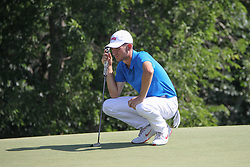 May 18, 2018 - Dallas, TX, U.S. - DALLAS, TX - MAY 18: Noah Goodwin (USA) reads the greens on the 7th green during the second round of the AT&T Byron Nelson on May 18, 2018 at Trinity Forest Golf Club in Dallas, TX. (Photo by George Walker/Icon Sportswire) (Credit Image: © George Walker/Icon SMI via ZUMA Press)