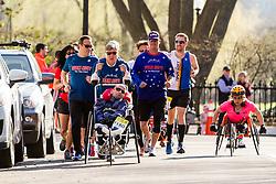 Boston Marathon: BAA 5K road race Rick and Dick Hoyt race with Team Hoyt