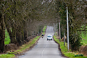 Car and motorbike on a country road, Staffordshire, United Kingdom