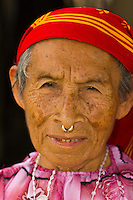 Kuna Indian woman with nose ring, Wichub Wala Island, San Blas Islands (Kuna Yala), Caribbean Sea, Panama
