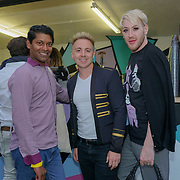 PITCH Stratford, London, England, UK. Emmanuel Ray,John Galea, Lewis Duncan attend the private Pitch Open Airs Cinema. The unique new space is a design-led open-air cinema, drinking terrace and street food venue set to revolutionise the nightlife scene in Stratford on the 13th July 2017. The venue will accommodate 400 sun-worshippers beneath its 80's/90's inspired canopy, which features break-out areas including retro pyramid booths and an outdoor cinema screen.