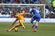 Bailey Wright of Preston NE (l) is challenged by Aron Gunnarsson of Cardiff city (r).Skybet football league championship match, Cardiff city v Preston NE at the Cardiff city stadium in Cardiff, South Wales on Saturday 27th Feb 2016.<br /> pic by  Andrew Orchard, Andrew Orchard sports photography.