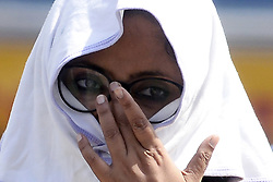 May 27, 2019 - Kolkata, West Bengal, India - Indian Woman covers her face with cloth due to heat wave at hot summer afternoon. (Credit Image: © Saikat Paul/Pacific Press via ZUMA Wire)