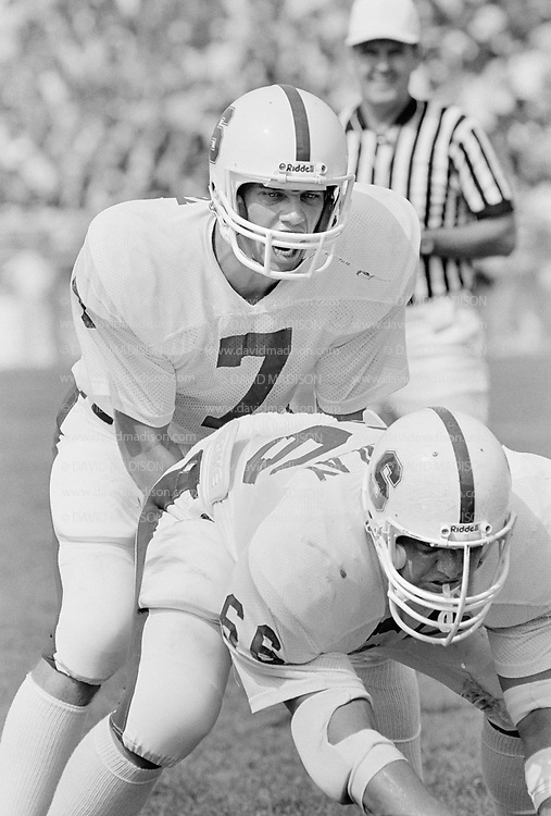 COLLEGE FOOTBALL:  Stanford vs Purdue on Septberm 12, 1981 at Ross-Ade Stadium in Bloomington, Indiana.  John Elway #7, John Macaulay #66.  Photograph by David Madison ( www.davidmadison.com ).