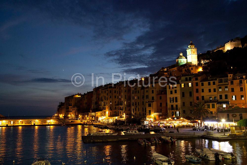 Harbour at night, Portovenere, Italy.