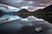 Dusk at Olafsfjordur in northern Iceland