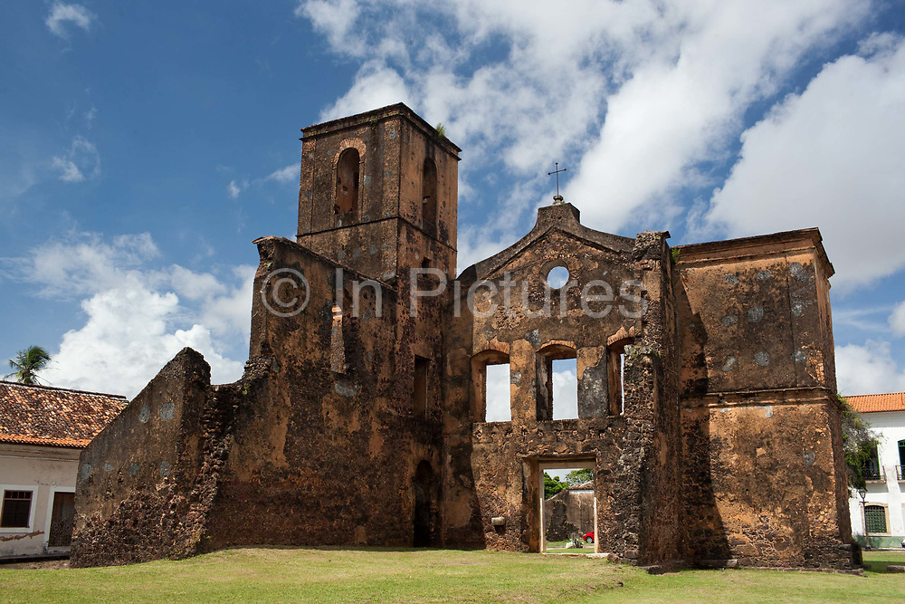 Ruins of Sao Mateus Church in Alcantara, 27th May 2014, Maranhao, Brazil. Alcantara is an island off the north east coast of Brazil close to Sao Luis, state capital of, and is one of the largest Quilombos in Brazil, which are communities that were originally set up by escaped or freed slaves during the colonial period.