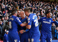 Birmingham City's David Cotterill (C) celebrates scoring his sides first goal <br /> <br /> Photographer Jack Phillips/CameraSport<br /> <br /> Football - The Football League Sky Bet Championship - Nottingham Forest v Birmingham City - Saturday 28th December - The City Ground - Nottingham<br /> <br /> © CameraSport - 43 Linden Ave. Countesthorpe. Leicester. England. LE8 5PG - Tel: +44 (0) 116 277 4147 - admin@camerasport.com - www.camerasport.com