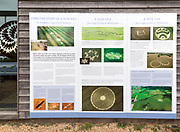 Information board panel about crop circles at the Barge Inn, Honeystreet, Wiltshire, England, UK