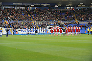 Both Birmingham City and Middlesbrough teams  give a 1 minutes applause in remeberence of Nelson Mandela before the k/o of the Skybet football league championship match, Birmingham city v Middlesbrough at St.Andrew's in Birmingham, England on Sat 7th Dec 2013. pic by Jeff Thomas/Andrew Orchard sports photography.