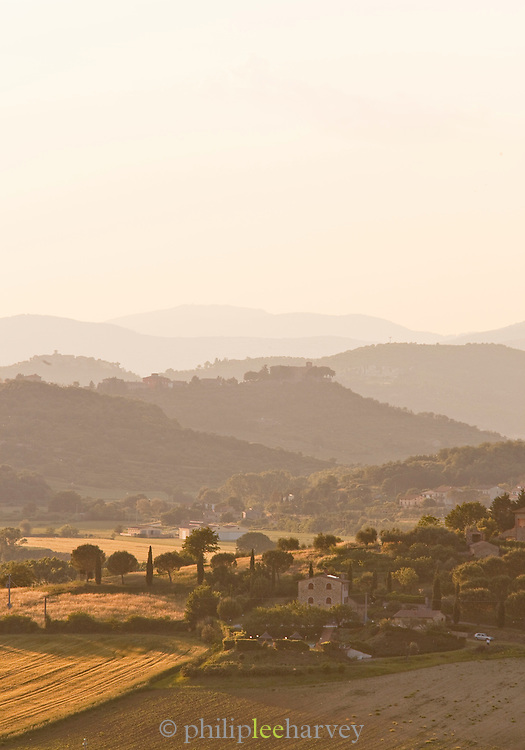 The rolling hillside landscape of Umbria near Solomeo, Italy