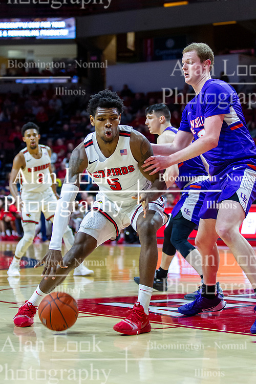 NORMAL, IL - January 29: Keith Fisher III backs in defended by Evan Kuhlman during a college basketball game between the ISU Redbirds and the University of Evansville Purple Aces on January 29 2020 at Redbird Arena in Normal, IL. (Photo by Alan Look)