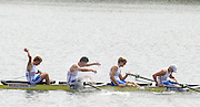 Brive, FRANCE,  GBR JM4-, Bow, Andrew HOLMES, Jason PHILLIPS, William PERHAM and Constantine LOULOUDIS Gold medalist men's four at 'Lac du Causse', venue for the 2009 FISA Junior World Rowing Championships,  Brive La GAILLARDE. Saturday  08/08/2009 [Mandatory Credit. Peter Spurrier/Intersport Images]