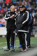 Cardiff City manager Russell Slade (r) and assistant manager Paul Trollope talk tactics during the game. Skybet football league championship match, Cardiff city v Preston NE at the Cardiff city stadium in Cardiff, South Wales on Saturday 27th Feb 2016.<br /> pic by Carl Robertson, Andrew Orchard sports photography.