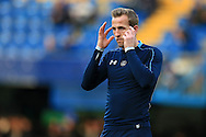 Harry Kane of Tottenham Hotspur looks focussed on what his team has to do as he goes through prematch warm up. Barclays Premier league match, Chelsea v Tottenham Hotspur at Stamford Bridge in London on Monday 2nd May 2016.<br /> pic by Andrew Orchard, Andrew Orchard sports photography.