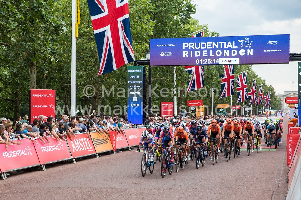 London, UK. 3 August, 2019. Sixteen of the world's top professional female cycling teams take part in the Prudential RideLondon Classique. The Classique, which is the richest one-day women's race in the world, covers 20 laps of a tight circuit of 3.4 kilometres around St James's Park and Constitution Hill.