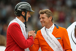 iIndividual podium, Wathelet Gregory, (BEL), Dubbeldam Jeroen, (NED)<br /> Individual Final Competition round 2<br /> FEI European Championships - Aachen 2015<br /> © Hippo Foto - Dirk Caremans<br /> 23/08/15