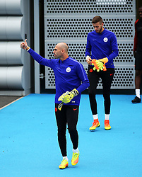 Wilfredo Caballero of Manchester City gives a thumbs up with fellow goalkeeper Angus Gunn behind - Mandatory by-line: Matt McNulty/JMP - 12/09/2016 - FOOTBALL - Manchester City - Training session ahead of Champions League Group C match against Borussia Monchengladbach