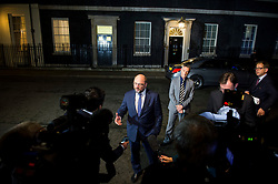 © Licensed to London News Pictures. 04/02/2016. London, UK. President of the European Parliament MARTIN SHULZ seeking to media while leaving number 10 Downing Street after a meeting with British prime minister DAVID CAMERON  as negotiations continue to finalise details of an EU reform. Photo credit: Ben Cawthra/LNP