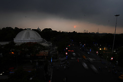 May 29, 2017 - Kolkata, India - The Black sky in Kolkata City, India, on 29 May 2017. The deep depression over the Bay of Bengal is gaining strength and has further turned into a cyclonic storm, the Indian Meteorological Department said. The cyclone is likely to intensify into a severe cyclone during the next 12 hours...Under the influence of the Cyclone 'Mora' over east-central Bay of Bengal, which is likely to intensify further into severe cyclonic storm during next 12 hours, conditions are favourable for further advance of southwest monsoon into some parts of southeast Arabian Sea, southwest Bay of Bengal and east central Bay of Bengal, remaining parts of southeast Bay of Bengal and some parts of west central and northeast Bay of Bengal during the next 24 hours, a weather forecast bulletin of the IMD said. (Credit Image: © Debajyoti Chakraborty/NurPhoto via ZUMA Press)
