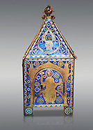 Medieval enamelled tabernacle depicting Christ in majesty, circa 1200 AD from Limoges, enamel on gold. AD. Inv OA 8984, The Louvre Museum, Paris..<br /> <br /> If you prefer you can also buy from our ALAMY PHOTO LIBRARY Collection visit : https://www.alamy.com/portfolio/paul-williams-funkystock/limoges-enamel-antiquities.html Type - louvre - into the LOWER SEARCH WITHIN GALLERY box. <br /> <br /> Visit our MEDIEVAL ART PHOTO COLLECTIONS for more photos to download or buy as prints https://funkystock.photoshelter.com/gallery-collection/Medieval-Gothic-Art-Antiquities-Historic-Sites-Pictures-Images-of/C0000gZ8POl_DCqE