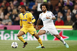 (l-r) Douglas Costa of Juventus FC, Marcelo of Real Madrid during the UEFA Champions League quarter final match between Real Madrid and Juventus FC at the Santiago Bernabeu stadium on April 11, 2018 in Madrid, Spain