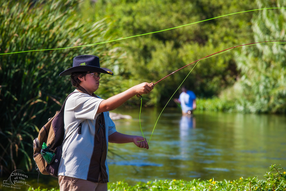 The first annual Off tha' Hook fly fishing event held in 2014 on the banks of the Los Angeles River in the Elysian Valley.