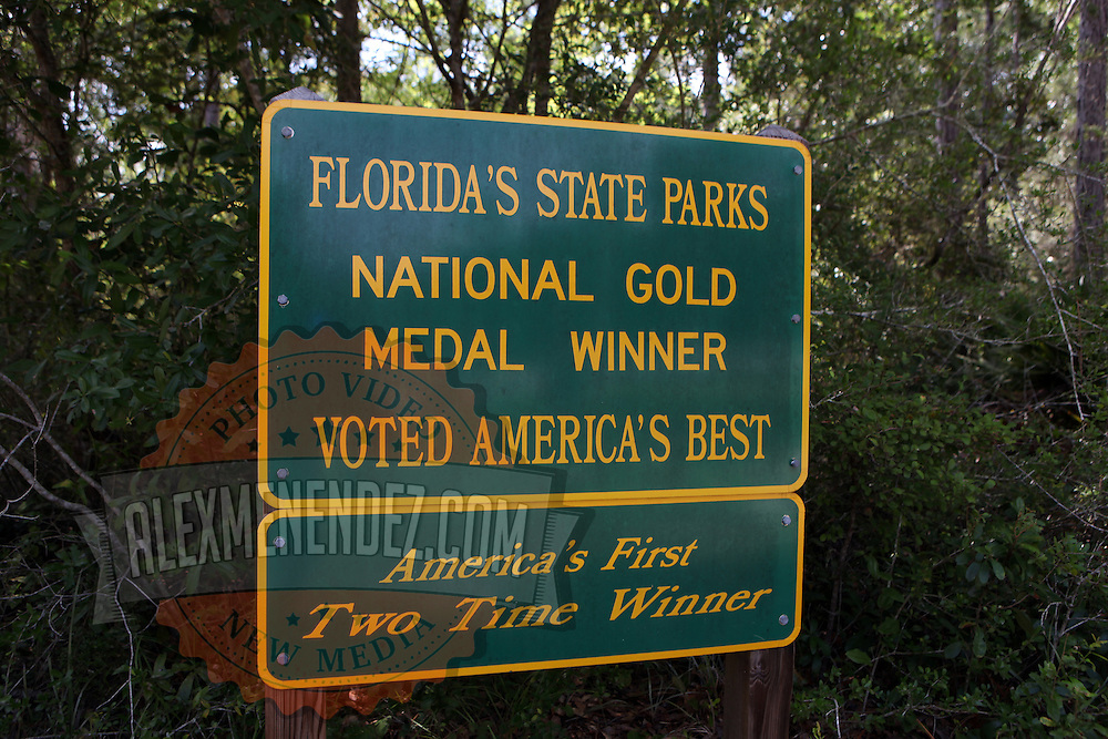 Ochlockonee River State Park signage along the Big Bend Scenic Highway in the Apalachicola National Forest in Florida. (AP Photo/Alex Menendez) Florida scenic highway photos from the State of Florida. Florida scenic images of the Sunshine State.
