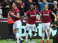 Football - 2018 / 2019 Premier League - West Ham United vs. Arsenal<br /> <br /> Declan Rice celebrates scoring bios first goal for his club West ham, at The London Stadium.<br /> <br /> COLORSPORT/ANDREW COWIE