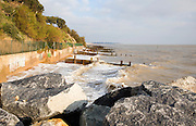 Coastal defences on the North Sea coast in East Anglia at Cobbold's Point, Felixstowe, Suffolk, England