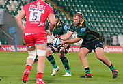 Northampton Saints prop Owen Franks catches a pass during the Gallagher Premiership Rugby match Northampton Saints -V- Sale Sharks at Franklin's Gardens, Northamptonshire ,England United Kingdom, Tuesday, September 29, 2020. (Steve Flynn/Image of Sport)